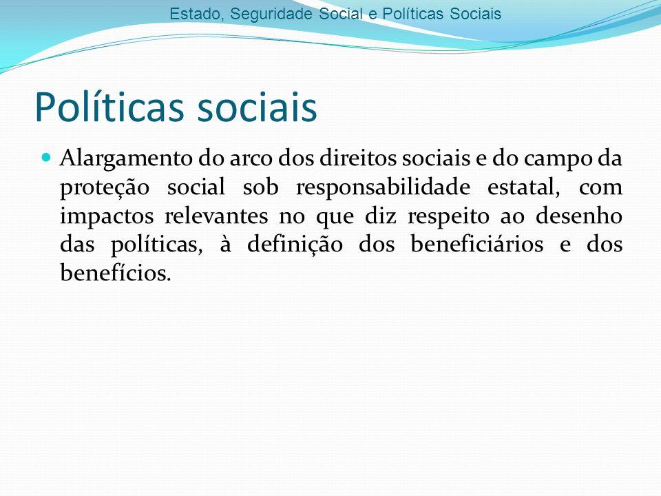 Estado, Seguridade Social e Políticas Sociais