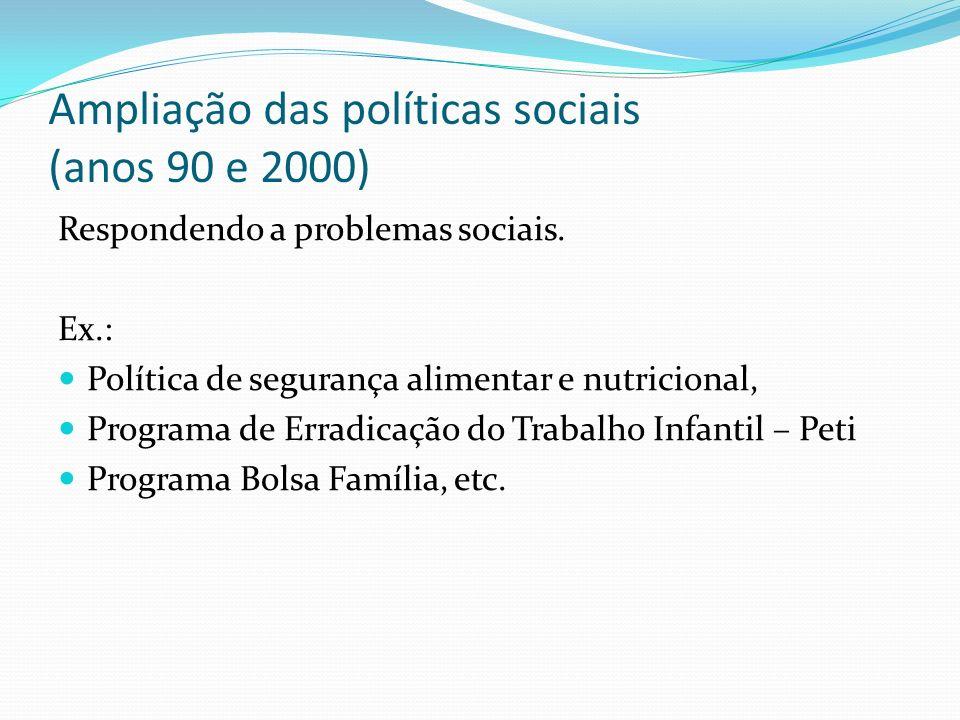Ampliação das políticas sociais (anos 90 e 2000)