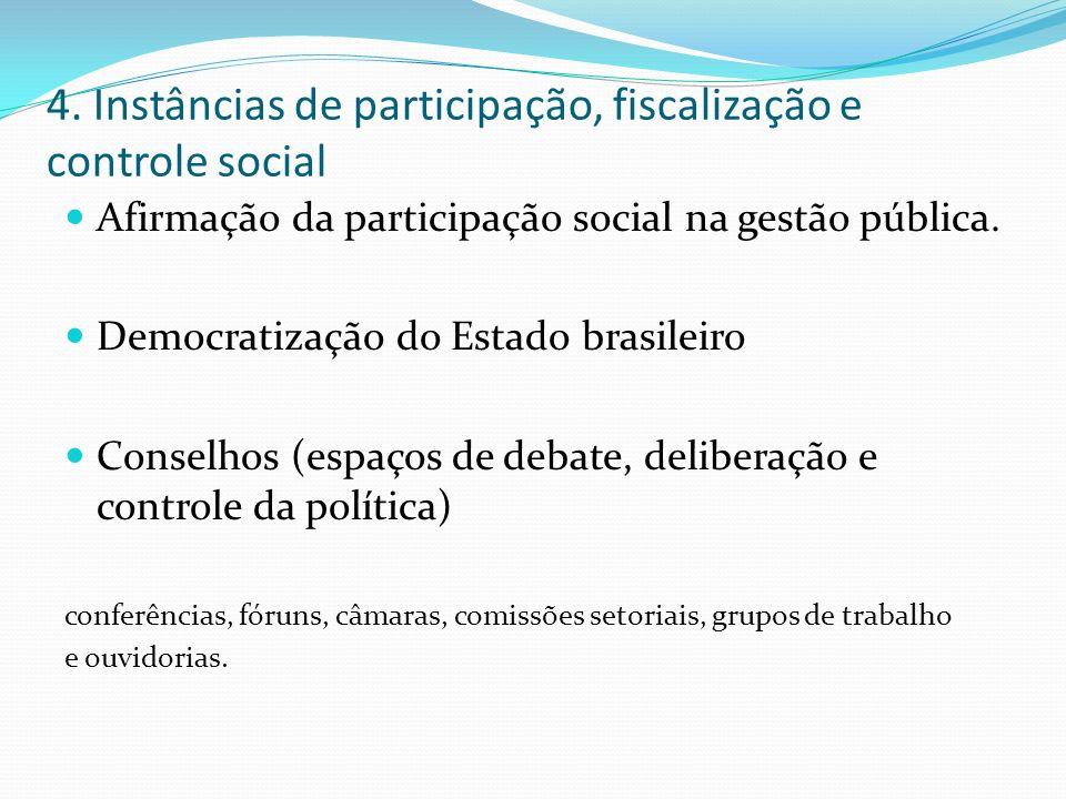 4. Instâncias de participação, fiscalização e controle social