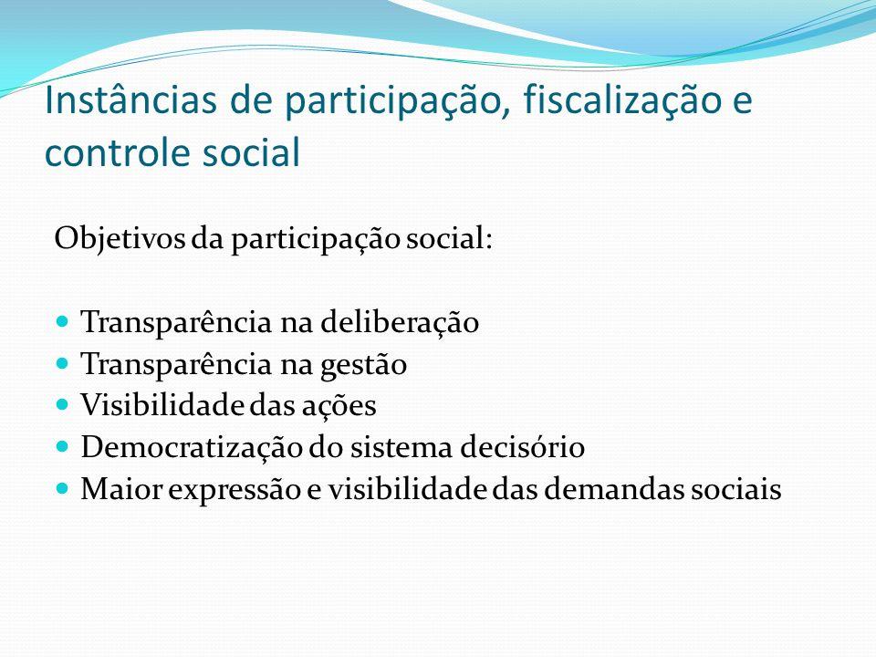 Instâncias de participação, fiscalização e controle social