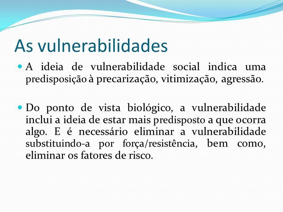 As vulnerabilidades A ideia de vulnerabilidade social indica uma predisposição à precarização, vitimização, agressão.