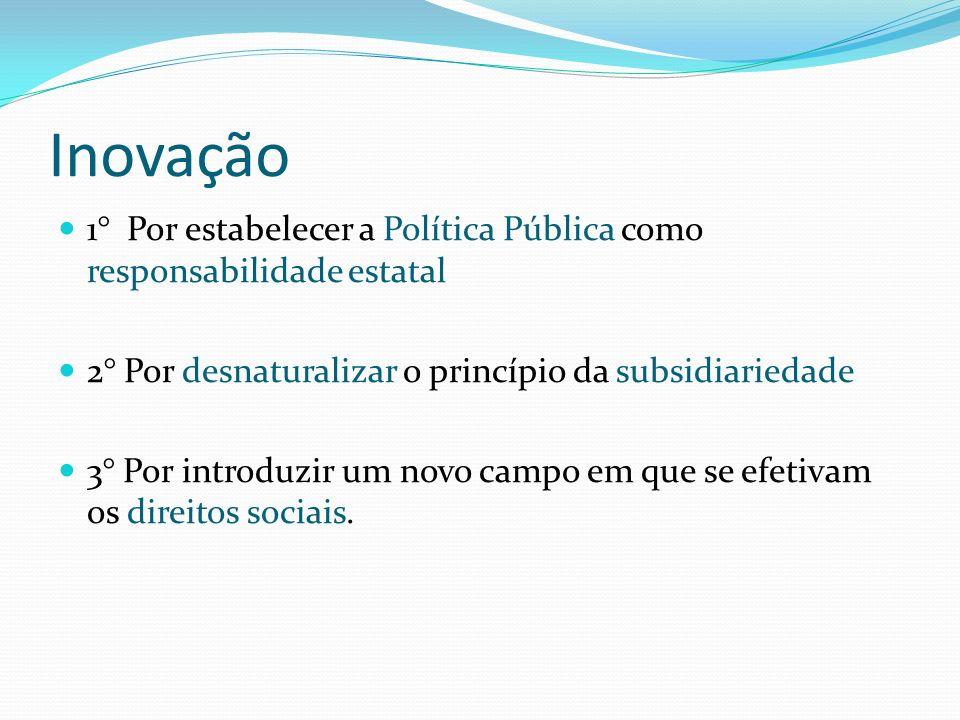 Inovação 1° Por estabelecer a Política Pública como responsabilidade estatal. 2° Por desnaturalizar o princípio da subsidiariedade.