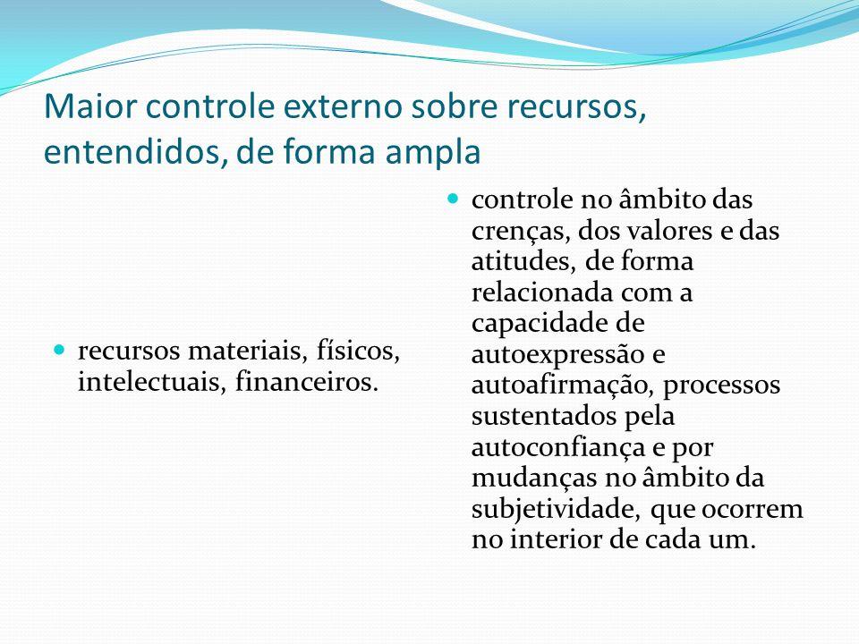 Maior controle externo sobre recursos, entendidos, de forma ampla