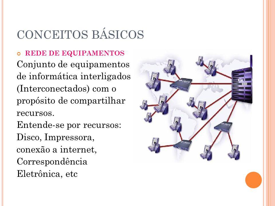 CONCEITOS BÁSICOS Conjunto de equipamentos de informática interligados