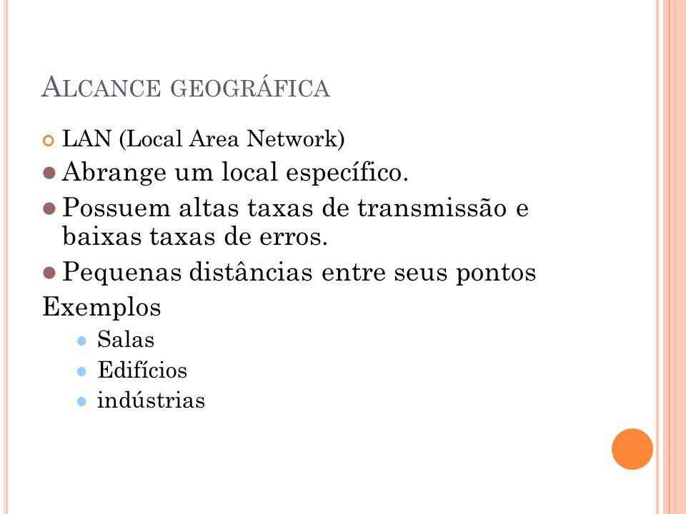 Alcance geográfica Abrange um local específico.