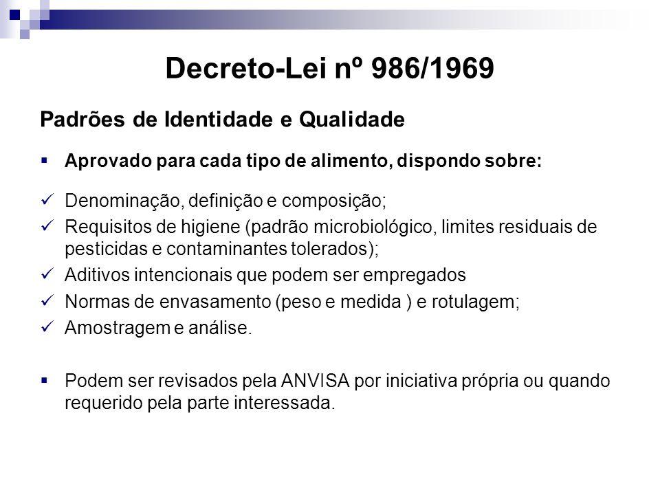 Decreto-Lei nº 986/1969 Padrões de Identidade e Qualidade