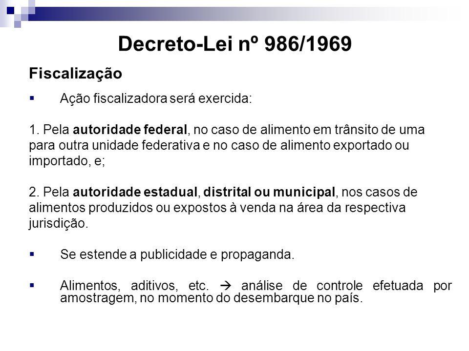 Decreto-Lei nº 986/1969 Fiscalização Ação fiscalizadora será exercida: