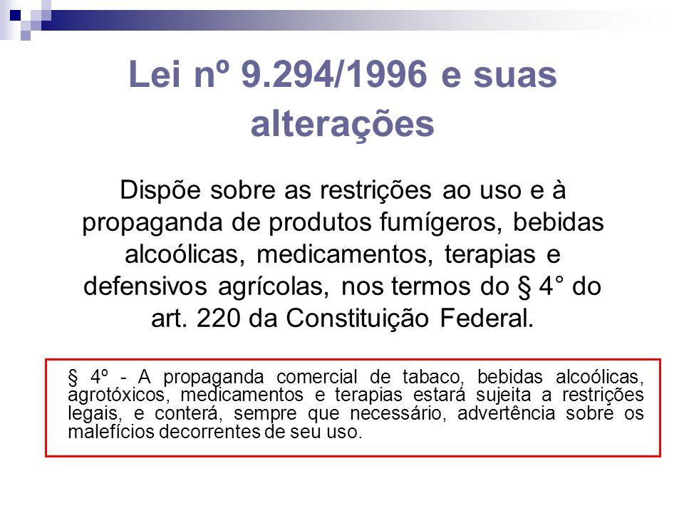 Lei nº 9.294/1996 e suas alterações