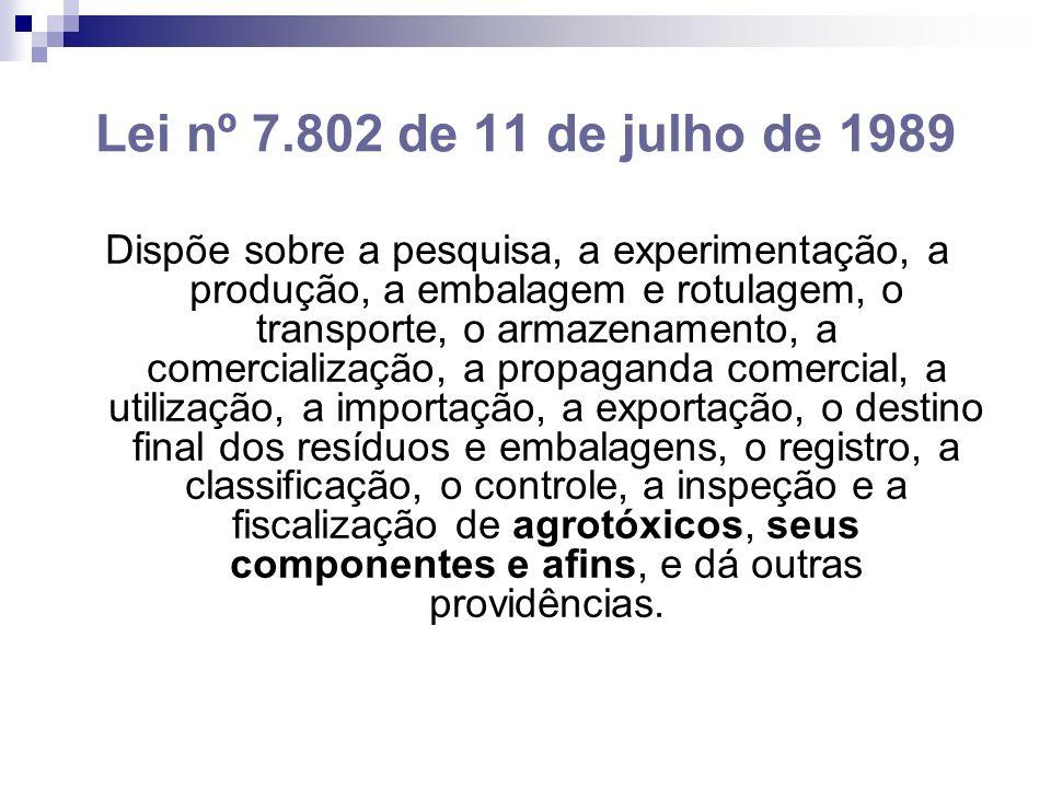 Lei nº 7.802 de 11 de julho de 1989