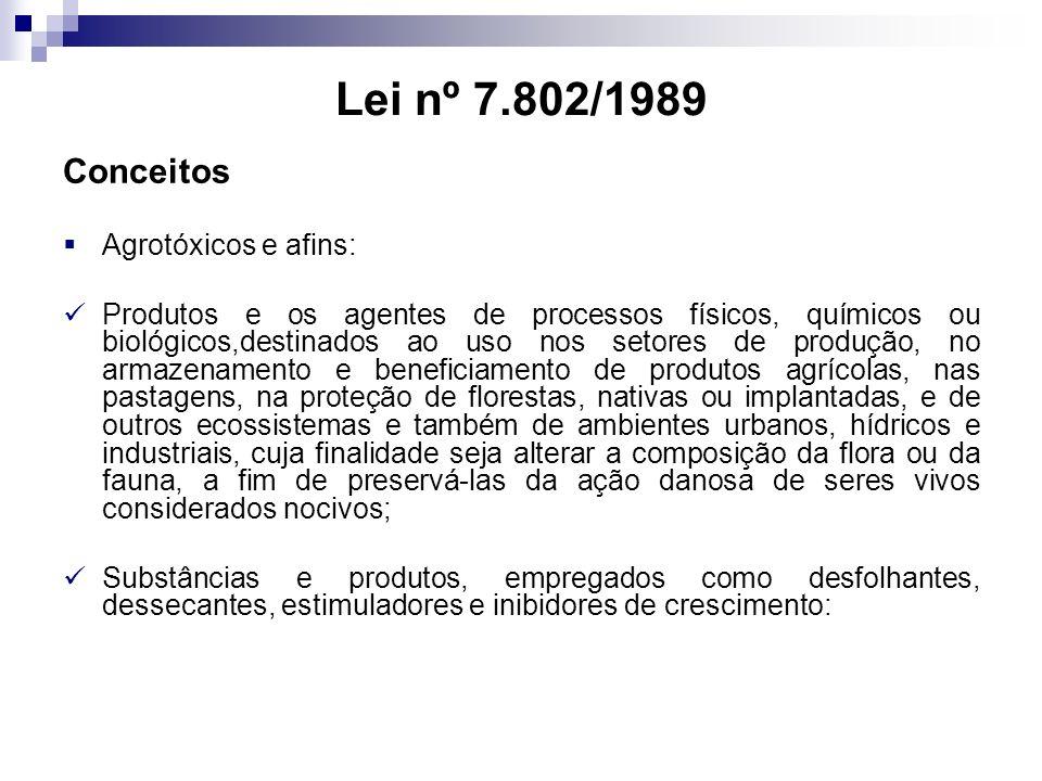Lei nº 7.802/1989 Conceitos Agrotóxicos e afins: