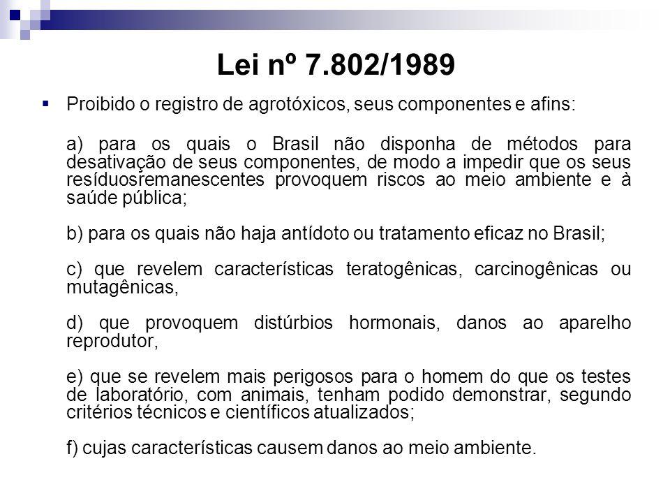 Lei nº 7.802/1989 Proibido o registro de agrotóxicos, seus componentes e afins:
