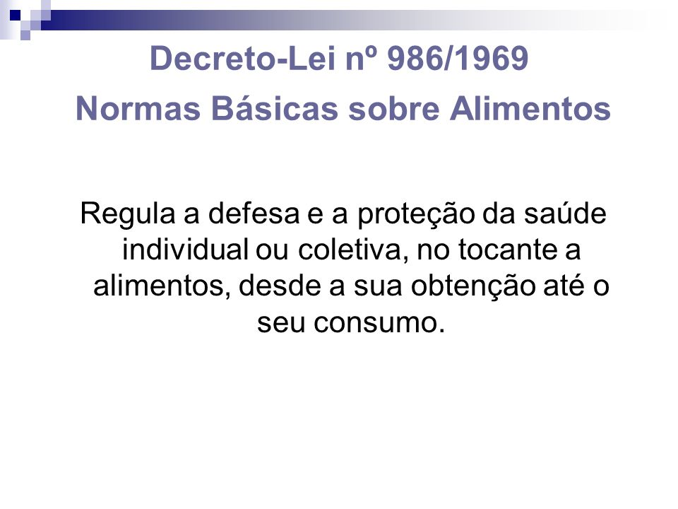 Decreto-Lei nº 986/1969 Normas Básicas sobre Alimentos