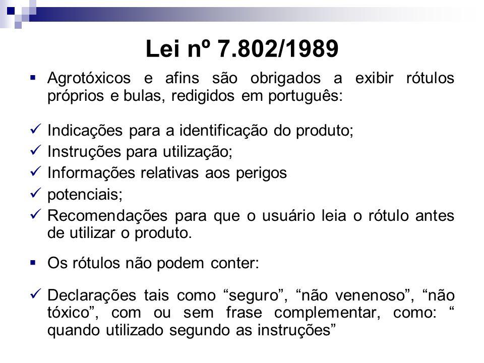 Lei nº 7.802/1989 Agrotóxicos e afins são obrigados a exibir rótulos próprios e bulas, redigidos em português: