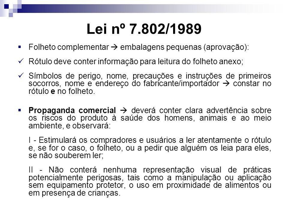 Lei nº 7.802/1989 Folheto complementar  embalagens pequenas (aprovação): Rótulo deve conter informação para leitura do folheto anexo;
