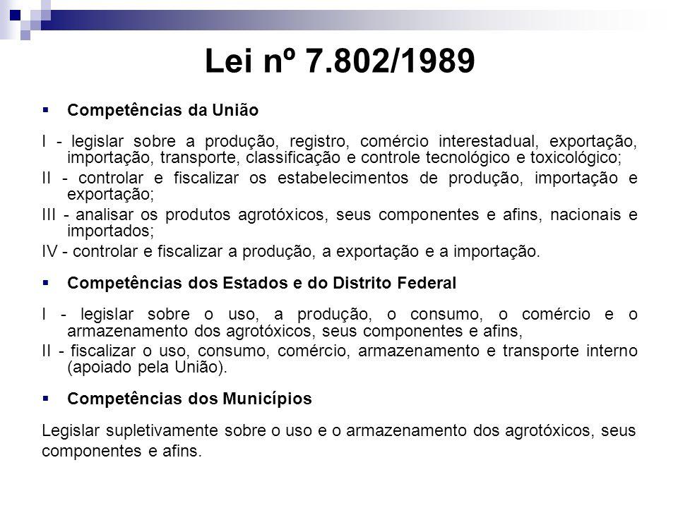 Lei nº 7.802/1989 Competências da União