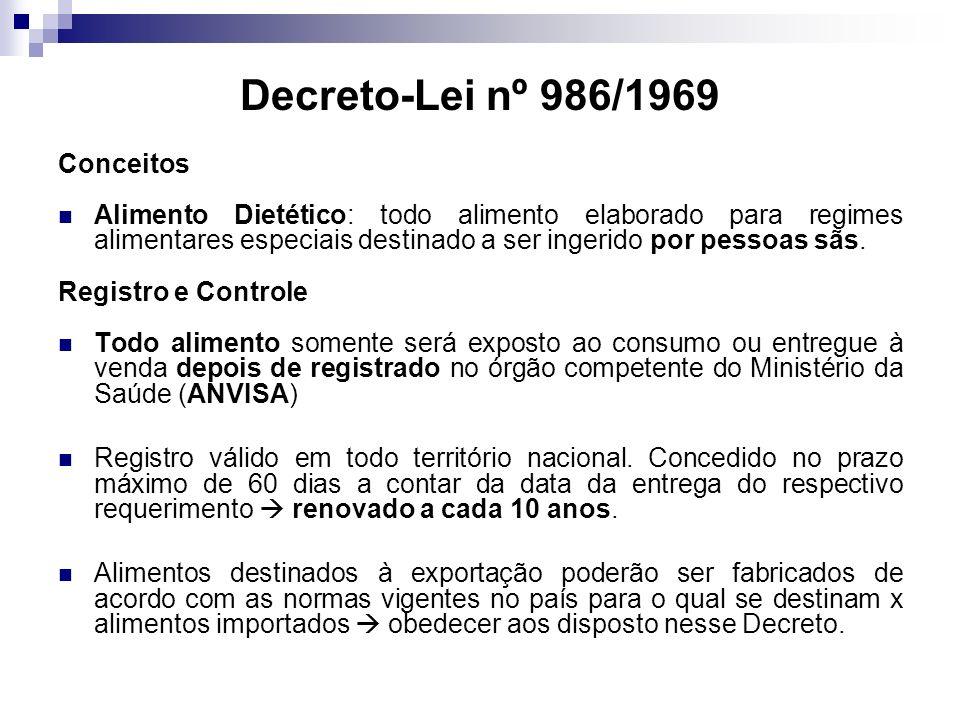 Decreto-Lei nº 986/1969 Conceitos