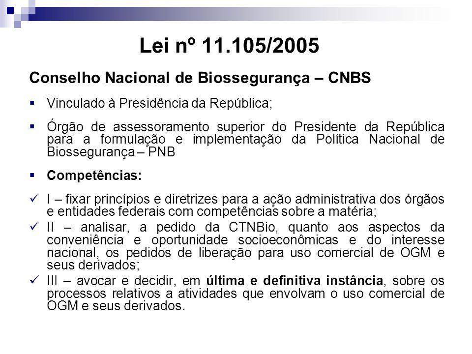 Lei nº 11.105/2005 Conselho Nacional de Biossegurança – CNBS