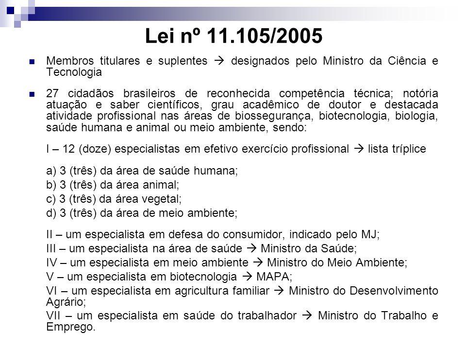 Lei nº 11.105/2005 Membros titulares e suplentes  designados pelo Ministro da Ciência e Tecnologia.