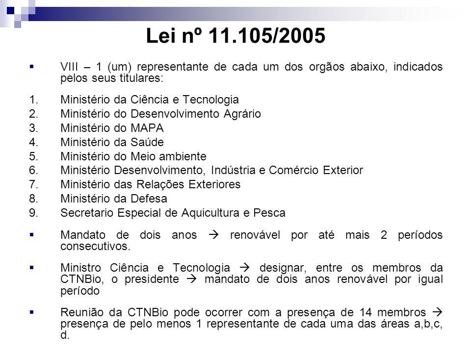 Lei nº 11.105/2005 VIII – 1 (um) representante de cada um dos orgãos abaixo, indicados pelos seus titulares: