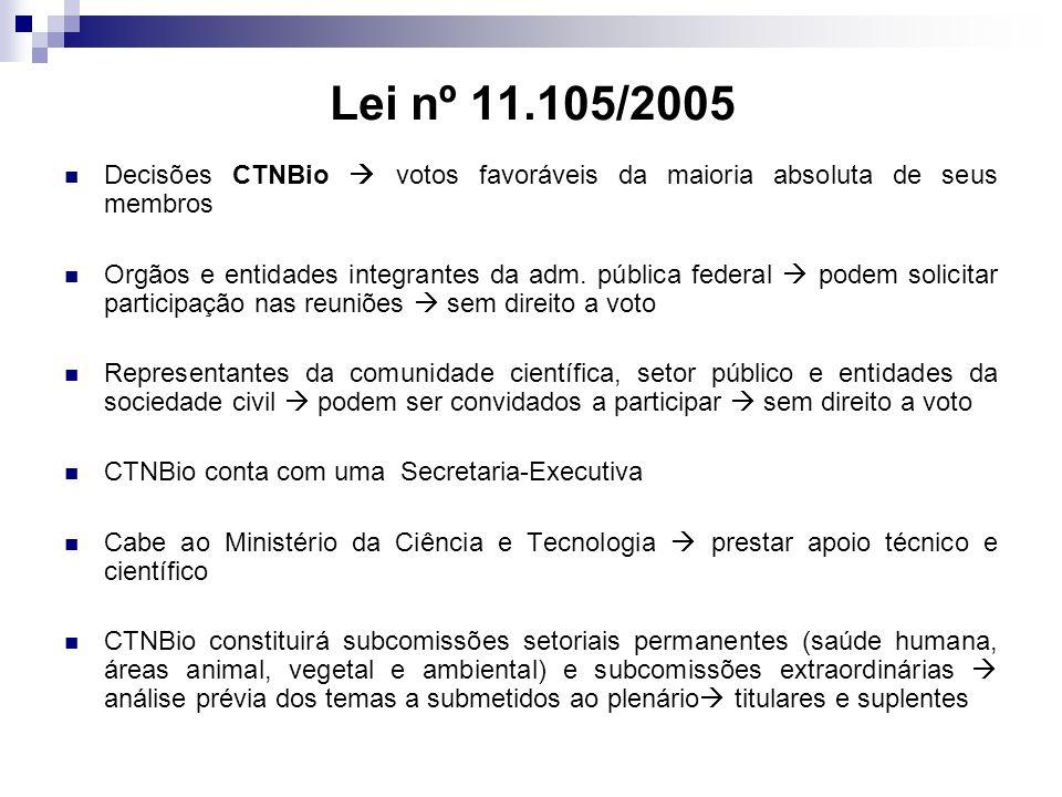 Lei nº 11.105/2005 Decisões CTNBio  votos favoráveis da maioria absoluta de seus membros.