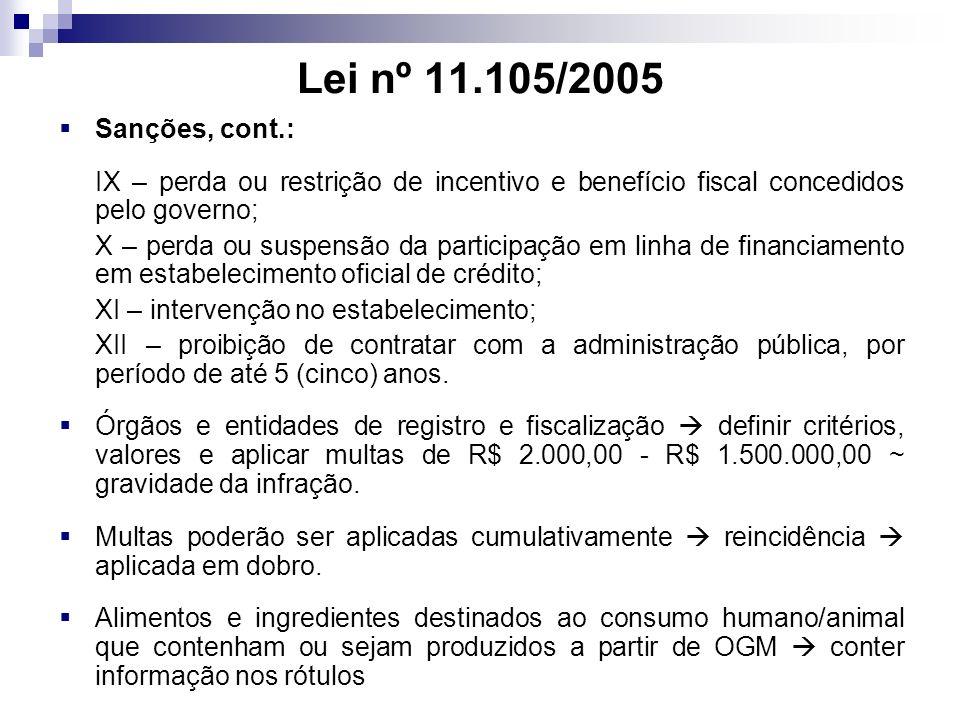 Lei nº 11.105/2005 Sanções, cont.: IX – perda ou restrição de incentivo e benefício fiscal concedidos pelo governo;