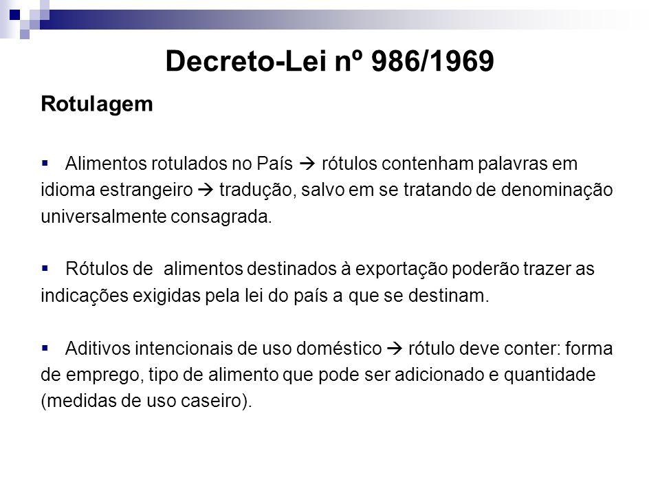Decreto-Lei nº 986/1969 Rotulagem