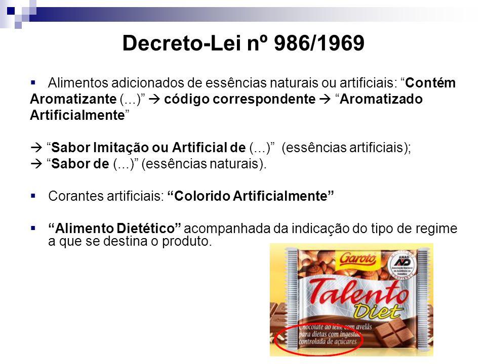 Decreto-Lei nº 986/1969 Alimentos adicionados de essências naturais ou artificiais: Contém.