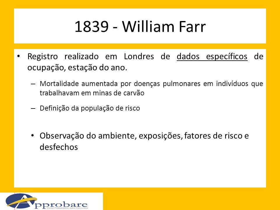 1839 - William Farr Registro realizado em Londres de dados específicos de ocupação, estação do ano.