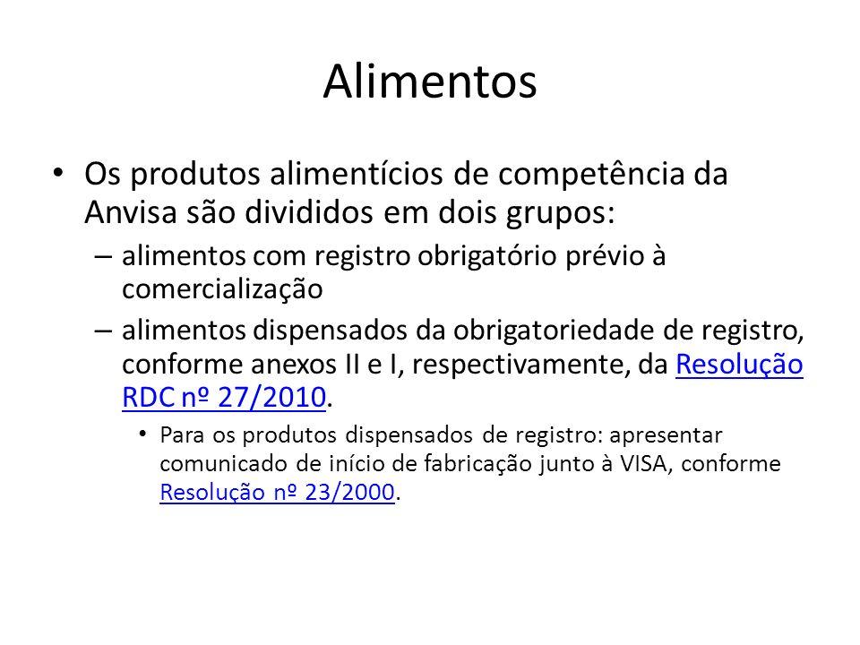 Alimentos Os produtos alimentícios de competência da Anvisa são divididos em dois grupos: