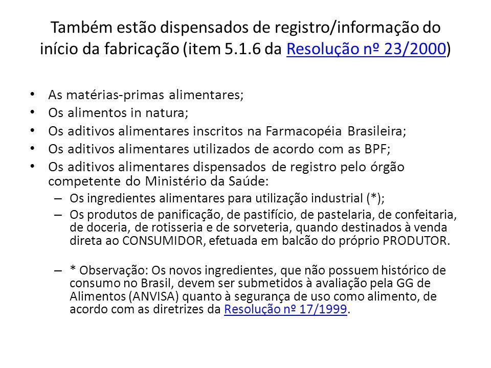 Também estão dispensados de registro/informação do início da fabricação (item 5.1.6 da Resolução nº 23/2000)