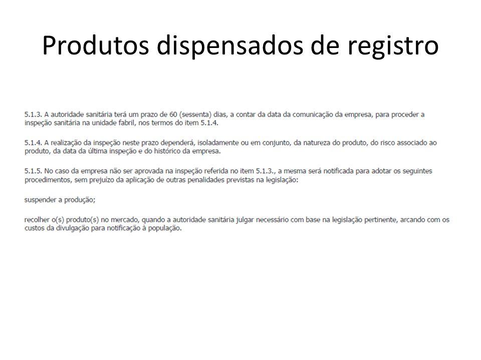 Produtos dispensados de registro