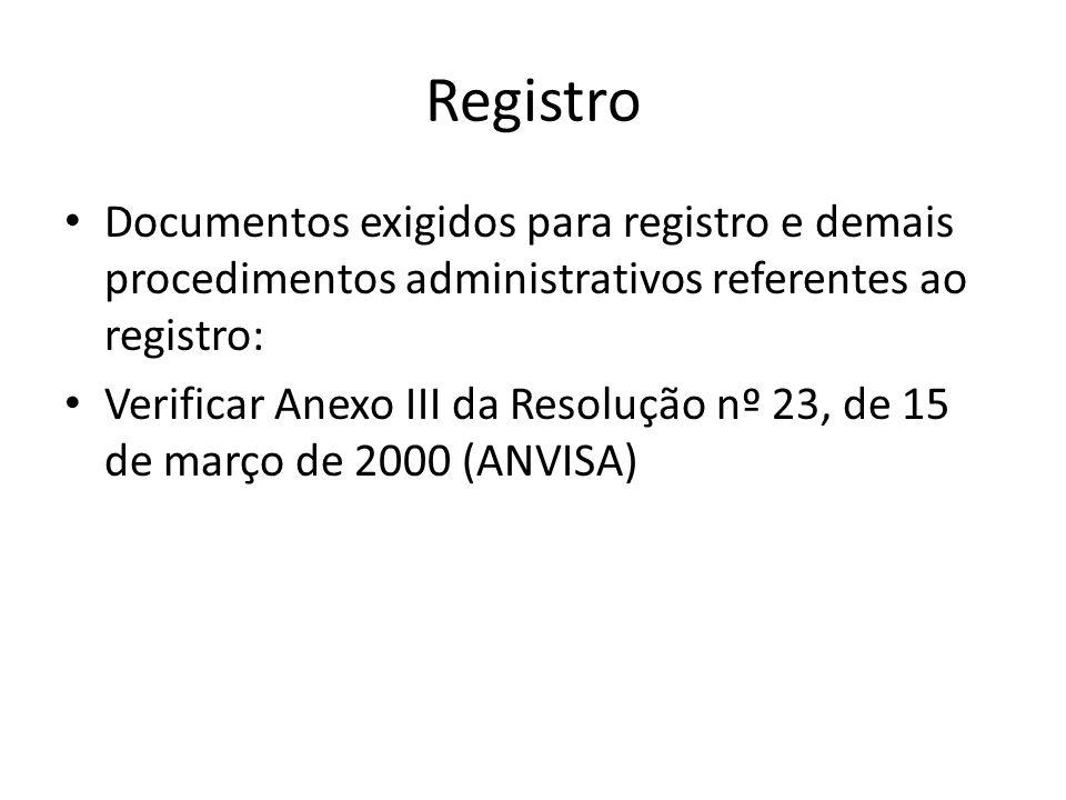 Registro Documentos exigidos para registro e demais procedimentos administrativos referentes ao registro:
