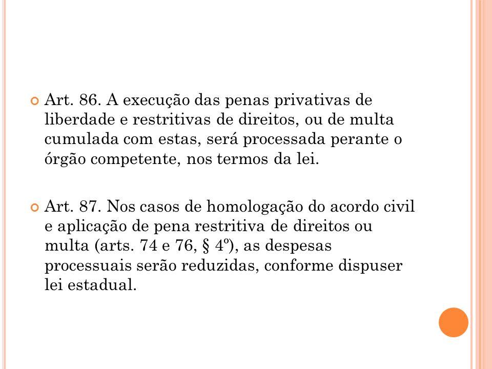 Art. 86. A execução das penas privativas de liberdade e restritivas de direitos, ou de multa cumulada com estas, será processada perante o órgão competente, nos termos da lei.