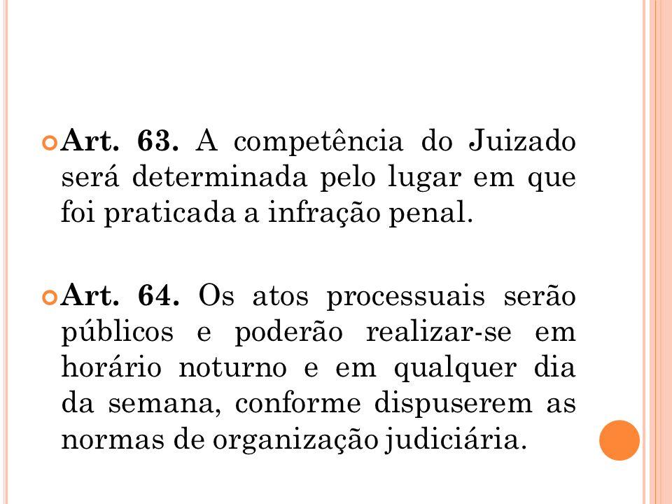 Art. 63. A competência do Juizado será determinada pelo lugar em que foi praticada a infração penal.