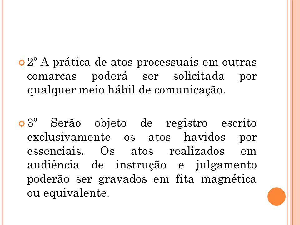 2º A prática de atos processuais em outras comarcas poderá ser solicitada por qualquer meio hábil de comunicação.