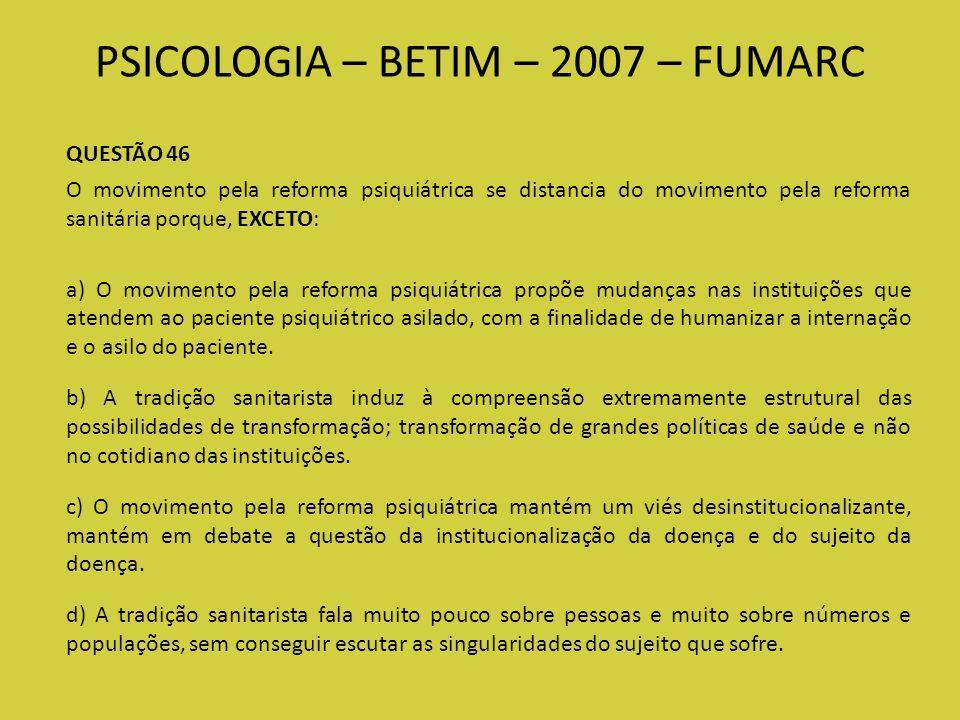 PSICOLOGIA – BETIM – 2007 – FUMARC