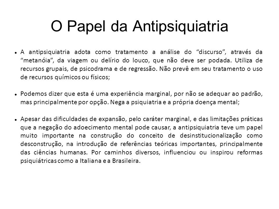 O Papel da Antipsiquiatria