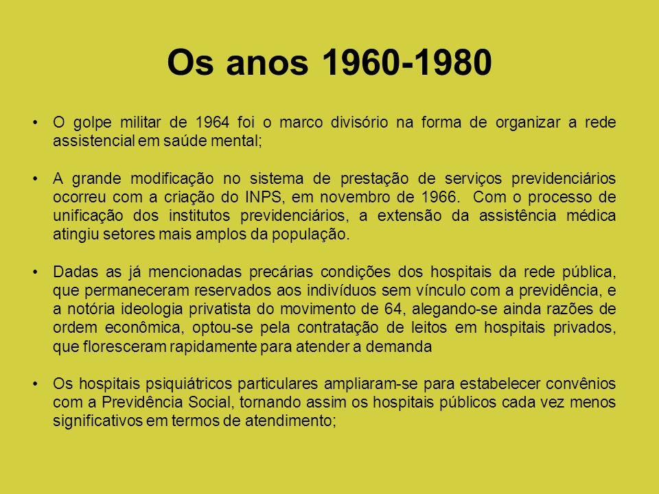 Os anos 1960-1980O golpe militar de 1964 foi o marco divisório na forma de organizar a rede assistencial em saúde mental;