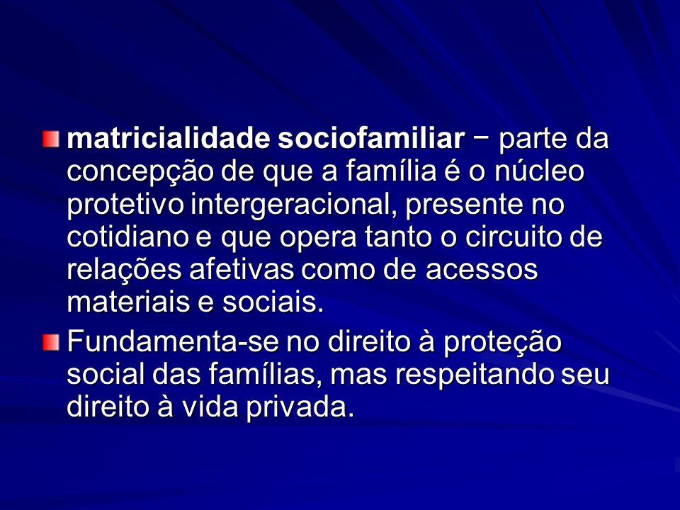matricialidade sociofamiliar − parte da concepção de que a família é o núcleo protetivo intergeracional, presente no cotidiano e que opera tanto o circuito de relações afetivas como de acessos materiais e sociais.