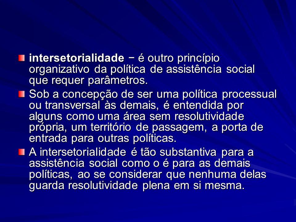 intersetorialidade − é outro princípio organizativo da política de assistência social que requer parâmetros.