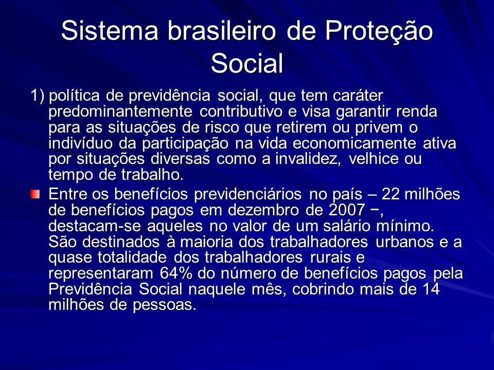 Sistema brasileiro de Proteção Social