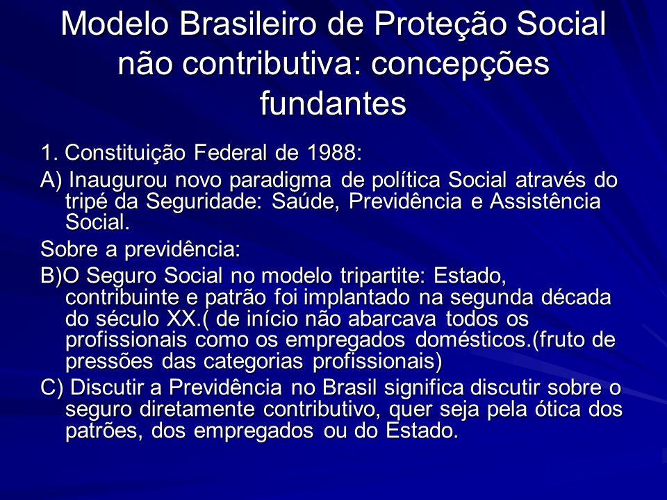 Modelo Brasileiro de Proteção Social não contributiva: concepções fundantes