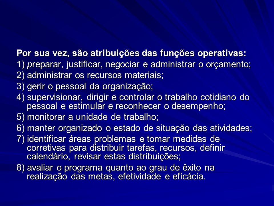 Por sua vez, são atribuições das funções operativas: