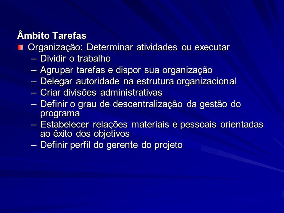 Âmbito Tarefas Organização: Determinar atividades ou executar. Dividir o trabalho. Agrupar tarefas e dispor sua organização.