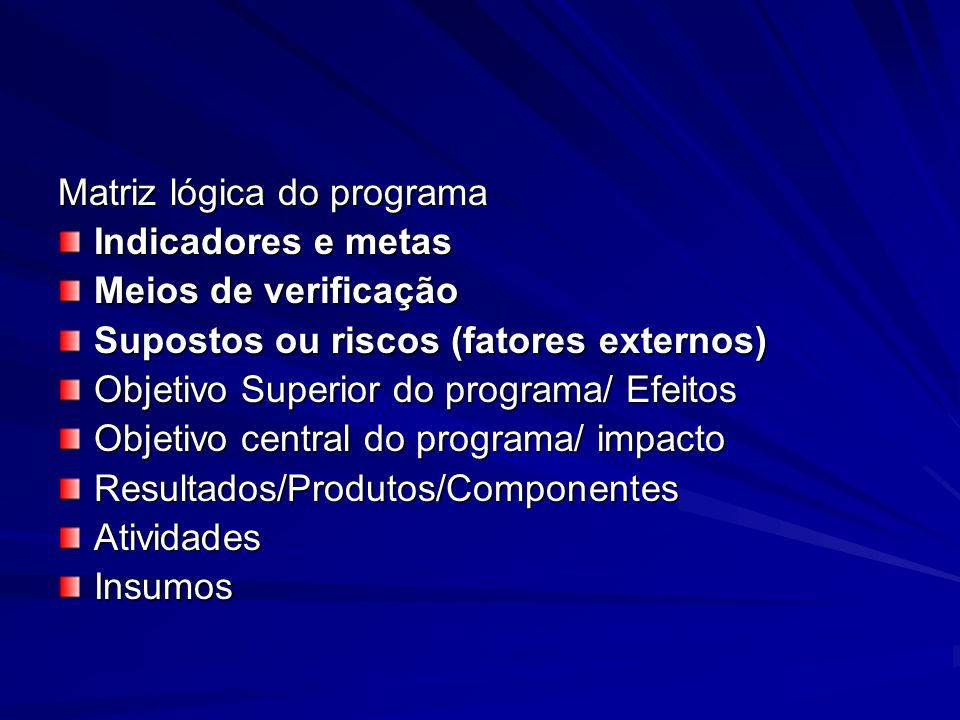 Matriz lógica do programa