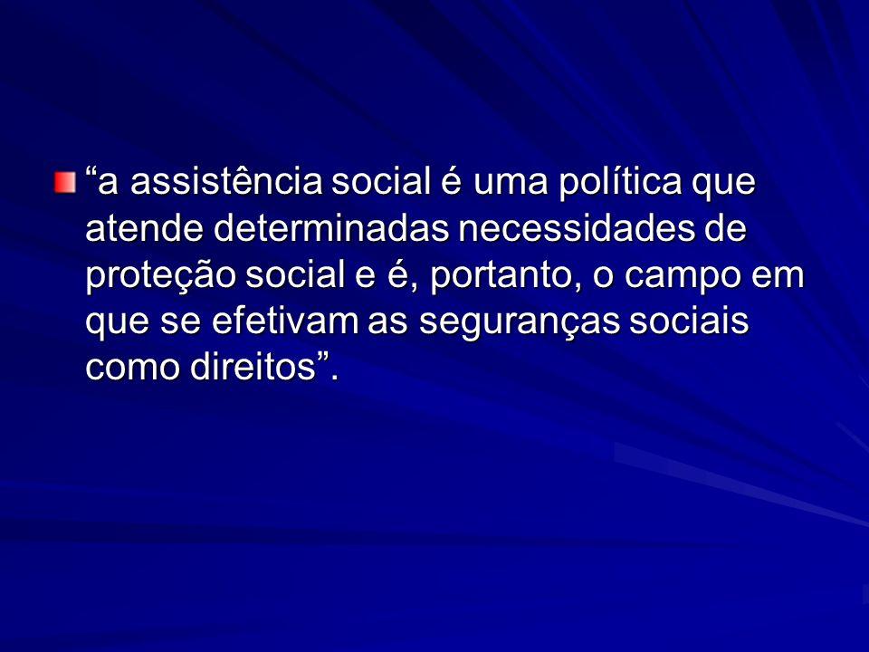 a assistência social é uma política que atende determinadas necessidades de proteção social e é, portanto, o campo em que se efetivam as seguranças sociais como direitos .