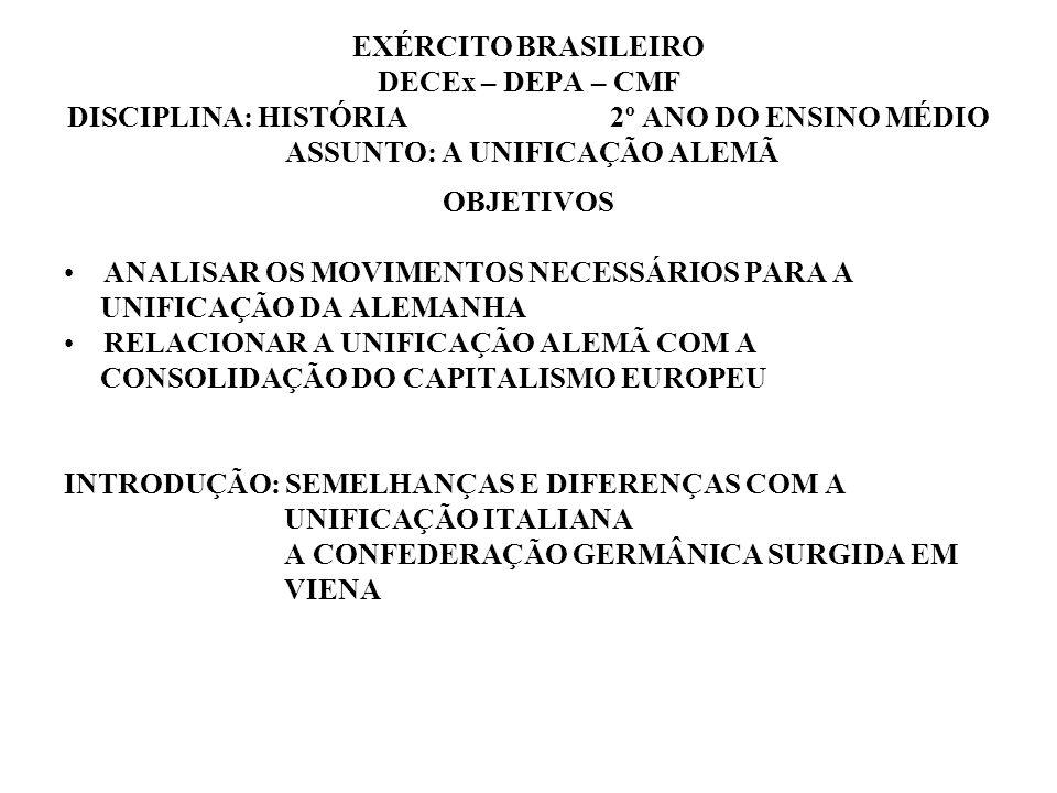 EXÉRCITO BRASILEIRO DECEx – DEPA – CMF DISCIPLINA: HISTÓRIA 2º ANO DO ENSINO MÉDIO ASSUNTO: A UNIFICAÇÃO ALEMÃ