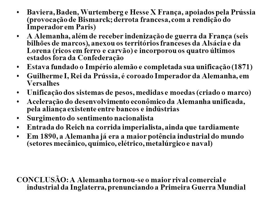 Baviera, Baden, Wurtemberg e Hesse X França, apoiados pela Prússia (provocação de Bismarck; derrota francesa, com a rendição do Imperador em Paris)