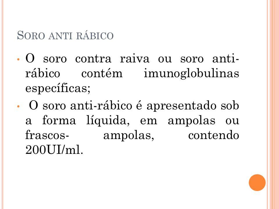 Soro anti rábico O soro contra raiva ou soro anti- rábico contém imunoglobulinas específicas;