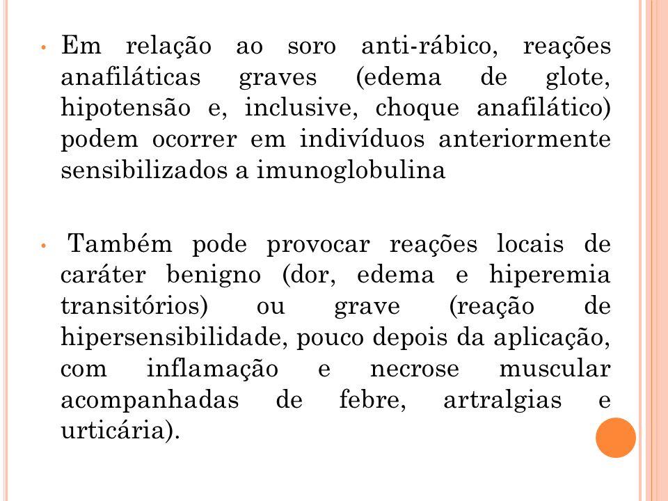 Em relação ao soro anti-rábico, reações anafiláticas graves (edema de glote, hipotensão e, inclusive, choque anafilático) podem ocorrer em indivíduos anteriormente sensibilizados a imunoglobulina